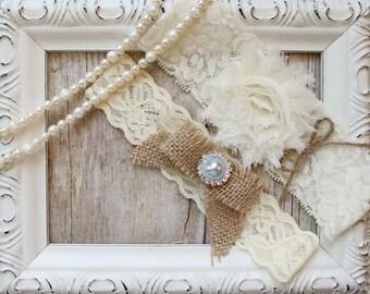 No Slip Wedding Garter Set, Rustic Garters make a great gift for her, garters for wedding or prom, monogrammed garter set
