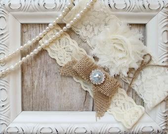Garter Set, Wedding Garter Set, Bridal Garter, Rustic Garters, Garter belt wedding, gift for her, garters for wedding, custom embroidery