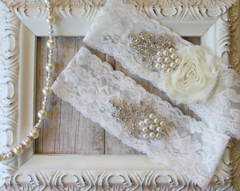 Wedding Garter Set with an Ivory Flower on Comfortable Ivory Lace with Pearls & Rhinestones, wedding, prom, wedding dress, bridesmaid gift