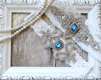 GARTER - Wedding Garter w/ toss - Turquoise Blue Garter, Something Blue, Crystal Garters, Bridal Garter, Prom Garter, wedding dresses