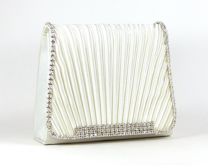 Featured listing image: Bridal Clutch - Off White Evening Bag with Austrian Crystals - Off White Satin Purse - Bridal Clutch - Wedding Purse - Crystal Bridal Clutch