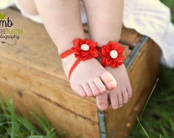 Baby Barefoot Sandals ~ Red Satin Flower Sandals ~ Toddler Sandals ~ Newborn Sandals ~ Baby Flower Sandals, Flower girl sandals, red sandals
