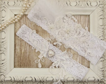 Off White Pearl Beaded Lace Wedding Garter Set , Off White Lace Garter Set. Garters for wedding or prom. Customizable monogrammed garter