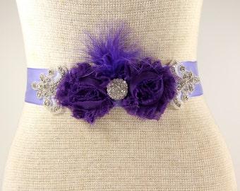Bridal Sash, Customizable Bridal Sash - Satin Sash - Crystal Wedding Sash - Purple Flower girl Sash, Wedding, Bridesmaids sash, Prom dress