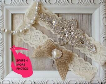 Wedding Garter, NO SLIP Lace Wedding Garter Set, bridal garter set, vintage rhinestones, burlap garter D01S-D02S
