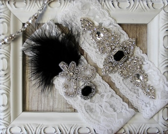 "Wedding garter - Vintage Garter Set w/ Black ""Onyx"" and Rhinestones on Comfortable Lace, Wedding Garter Set, Crystal Garter Set"