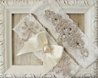 Customizable No Slip Wedding Garter Set that can be embroidered. Garters for wedding or prom make the perfect gift for her! Handmade garters