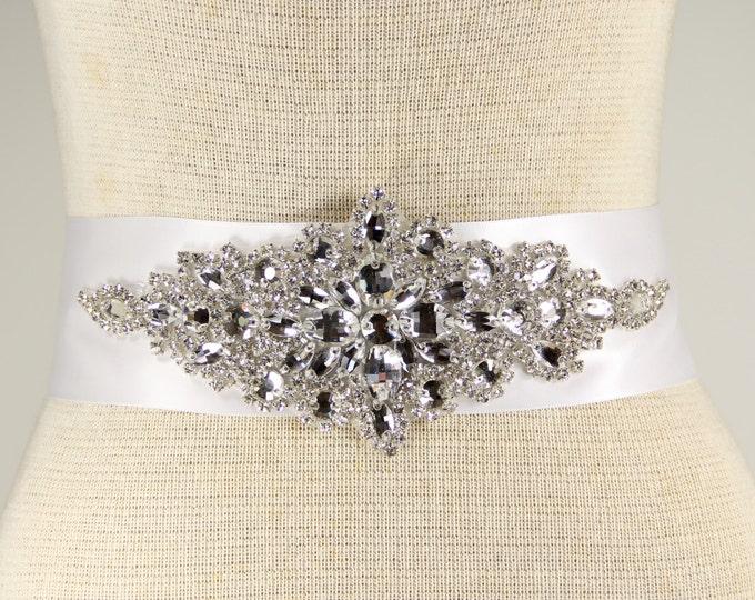 Featured listing image: Bridal Sash - Wedding Dresses, Sash Belt - White Satin wedding dress belt - White Bridal Sash - Evening Dress Sash, Prom dress