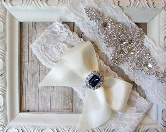 GARTER SET - CUSTOMIZABLE - Vintage Wedding Garter Set with Rhinestones on Comfortable Lace, Bridal Garter Set, Crystal Garter Set, Prom