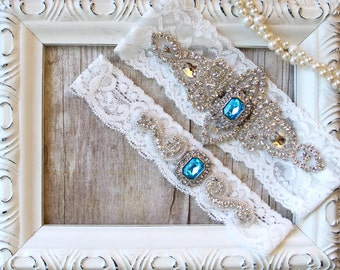 Garter Customize Your Set- Wedding Garter w/ toss -Turquoise Blue Garter, Something Blue, Crystal Garters, Bridal Garter, Rhinestone Garter