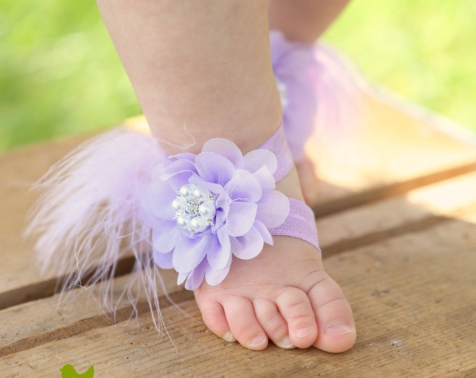 Featured listing image: Custom Baby Barefoot Sandals. Fold Over Elastic Sandals. Toddler Sandals. Newborn Sandals. Baby Flower Sandals. Flower girl sandals