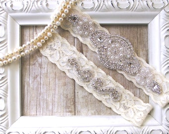 No slip garter. CUSTOMIZE YOUR GARTER - Bridal Garter, Wedding Garter Set, Stretch Lace Garter, Rhinestone Crystal Bridal Garter