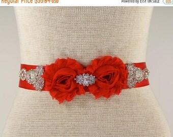 ON SALE Bridal Sash - Wedding Dress Belt - Prom Dress Sash, Wedding dress sash - Red Bridal Sash - Flowergirl sash, Bridesmaid gift, wedding