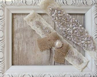 No slip garter, Bridal Garter, Wedding Garter Set, Garters for Wedding in several colors/sizes, wedding dress, rustic garter, gift for her