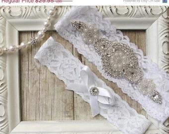 Wedding garter -Customizable Bridal Garter, Wedding Garter Set, Stretch Lace Garter, Rhinestone Crystal Bridal Garter