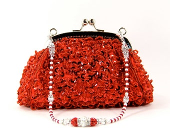 Red Beaded Wristlet Clutch Purse & Necklace with a Gorgeous Swarovski Crystal, and Pearl Handle That Also Doubles As A Necklace