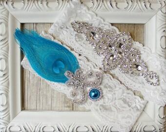 Wedding Garter Set, peacock bridal garter, lace wedding garter, bridal shower gift for her, blue wedding garter, garter belt, garter