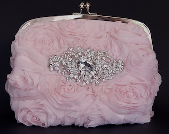 Baby Pink Silk Wristlet Clutch Purse w/ stunning Swarovski Crystal Accent, Pink Purse, Pink Clutch, Wedding Purse, Bridesmaid Gift