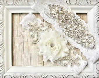 Wedding Garter - Customize Your Set - Unique Wedding Garter Set with Customizable Rosette and Comfortable Stretch Lace with sparkling stones