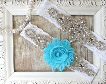 Wedding garter, custom garter set - something blue, crystal garters, lace bridal garter, prom, wedding, wedding dress, bridesmaid gift