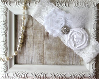 Toss Garter - BRIDAL GARTER - Wedding Garter with White Flowers on Customizable stretch lace w/ Rhinestones & Feathers, Wedding Garter, Prom