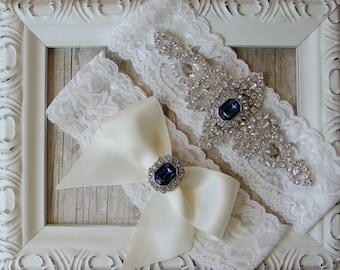 "Wedding garter -Customizable Bridal Garter Set w/ ""Sapphires"" and Rhinestones on Comfortable Lace, Wedding Garter Set, Wedding dress, Prom"