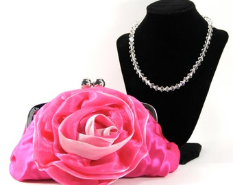 Satin Clutch and Necklace - Pink Satin Purse with a Swarovski Crystal Purse Handle that can also be worn as a Necklace