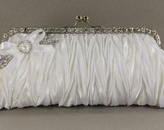 White Satin Bridal Clutch with Swarovski Crystal Brooch and a Lovely Pearl Handle That Can Also Be Worn As A Necklace, White satin purse,