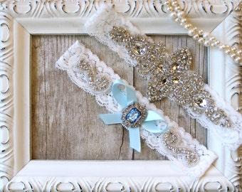 Garter, wedding garter, garter Set w/ Satin Bow & Gemstone, Bridal Garter, Garters, Something Blue, Personalized garter, wedding dress, prom