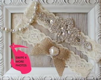 Wedding Garter, Rustic Bridal Garter, No slip Wedding Garter Set, Lace Bridal Garter, bridal lingerie - Burlap Garter, Rustic Wedding, prom