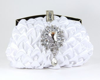 White Satin Evening Bag with Swarovski Crystal accent - White Satin Purse - Bridal Clutch - Wedding Purse