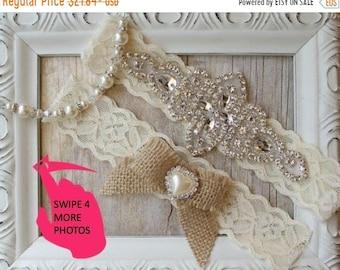 ON SALE NO Slip Rustic wedding garter set that can be monogrammed. Burlap bridal garter set, garters for wedding or prom. Personalized garte