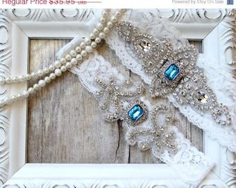 CUSTOMIZE Your Garters - Wedding Garter w/ toss -Turquoise Blue Gemstones, Something Blue, Crystal Garters, Bridal Garter, Wedding