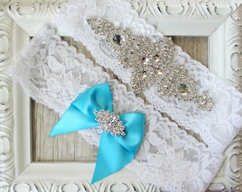 NO SLIP Vintage Wedding Garter Set with customizable satin bow. Personalize your garter by adding your monogram and special date! Handmade.