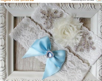 ON SALE Handmade wedding garter set that can be customized and personalized. Several sizes and colors available. Garters for wedding or prom