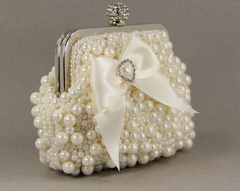 Pearl Purse, Bridal Clutch - Exquisite Ivory Pearl Clutch adorned with a Lovely Satin Bow and Pearl & Rhinestone Accent, Gift for he