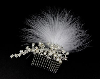 Genuine Pearl Bridal Hair Comb, Feather Bridal Comb, Rhinestone Bridal Comb,Bridal Fascinator,Bridal Hair Comb,Feather Fascinator, Wedding