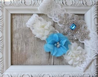 Wedding garter-garter set- personalized garter set - Something Blue, Bridal Garter, gift for her, prom, wedding, bridal shower gift