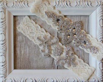 Customizable garters for wedding or prom. Personalized garters on lace color of your choice. Bridal garters make the perfect gift for her!
