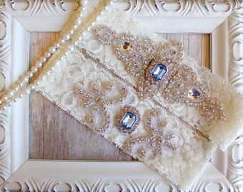 Wedding Garter Set, Customizable Bridal Garter Set, Vintage Wedding, Lace Garter, Crystal Garter Set, garters for wedding, prom, Style 001 A