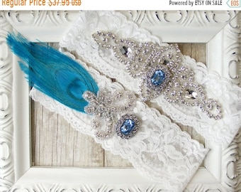 "ON SALE Peacock Wedding Garter - Vintage Garter Set w/ Turquoise color Peacock Feather, Rhinestones and ""Topaz.""  Crystal Wedding Garter Set"