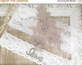 ON SALE No slip garter. Wedding Garter Set  Personalized bridal garter, Toss garter, garters for wedding, Gift for her, Prom, Wedding garter