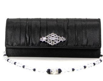 Black Satin Wristlet Clutch Purse w/optional Swarovski and Pave' Crystal Handle That Also Doubles As A Necklace. The Love Story
