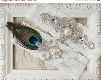 Wedding garter, Peacock Garter, Vintage Customizable Garter Belt, Crystal Garter Set, Peacock, Prom, Prom Garter. Bridal Shower Gift for Her
