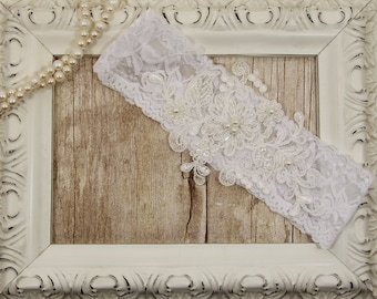 Off White Pearl Beaded Keepsake Lace Wedding Garter, Off White Lace Garter, Toss Garter , Keepsake Garter, Bridesmaid Gift, Prom, Wedding
