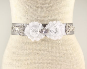 Silver Bridal Sash - Wedding Dress Sash Belt - Silver Rhinestone Crystal Wedding Sash - Silver Rhinestone Bridal Sash