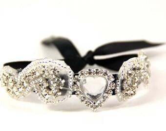 Black Bridal Cuff, Bridal Bracelet, Rhinestone Bridal Cuff, Bridesmaid Jewelry