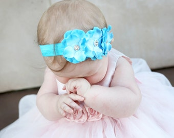 Baby headband, Baby headbands, Flower headband, Pearl headband, Prom headband, Easter Headband, baby girl headband, Blue Flower Headband