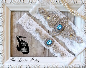 Wedding garter set. Garters for wedding, prom or bridal shower gift. Customizable and personalized garter belt. THE LOVE STORY
