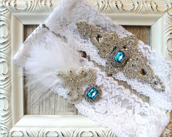 Wedding garter - Customizable wedding garters with gemstones and rhinestones on soft stretch lace, wedding, prom, bridesmaid gift